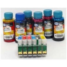Комплект картриджей Epson (T082) для R270, R290, R295, R390, RX610, RX615, перезаправляемый с авточипом